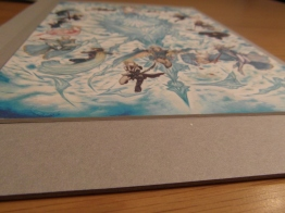 You can see it's printed onto thick card (as opposed from paper). It's not glossy.
