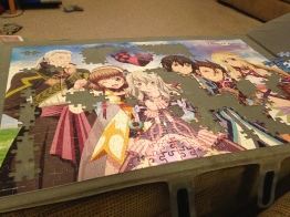 Half completed group puzzle.