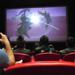 Photo taken during the Q&A session, game screen shots were looping on the projector.