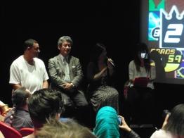 A close up of Shinji Hashimoto and Yoko Shimomura during the Q&A session.