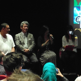 A close up of Shinji Hashimoto and Yoko Shimomura during the Q&A session.