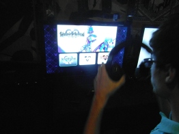 My friend gearing up to try the game!