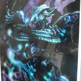 Closeup of the Bahamut art piece.